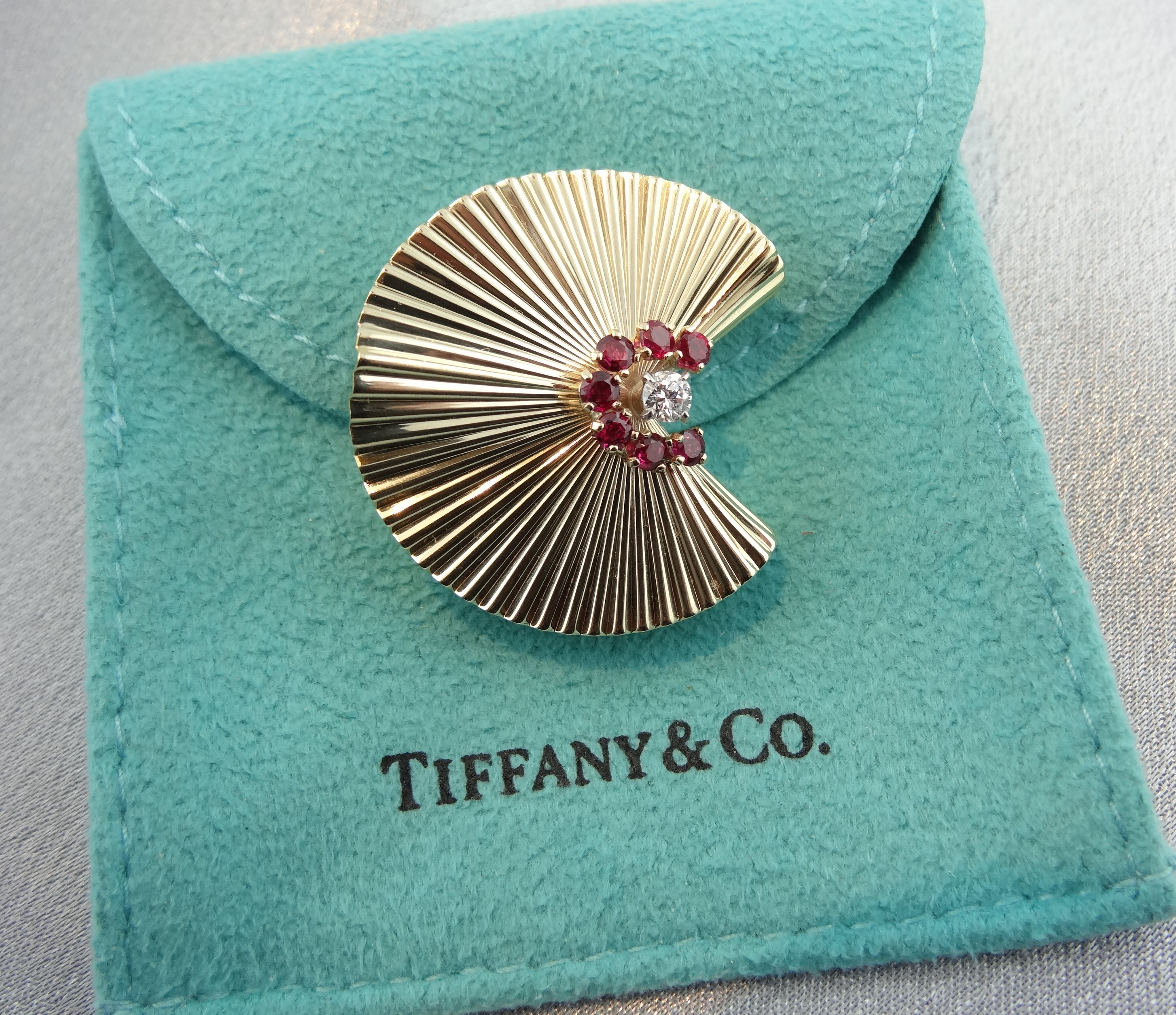 Sold Sold Tiffany Amp Co Ruby And Diamond Brooch In