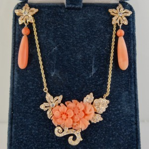 Sold Antique Carved Coral Necklace Amp Earrings With Pave