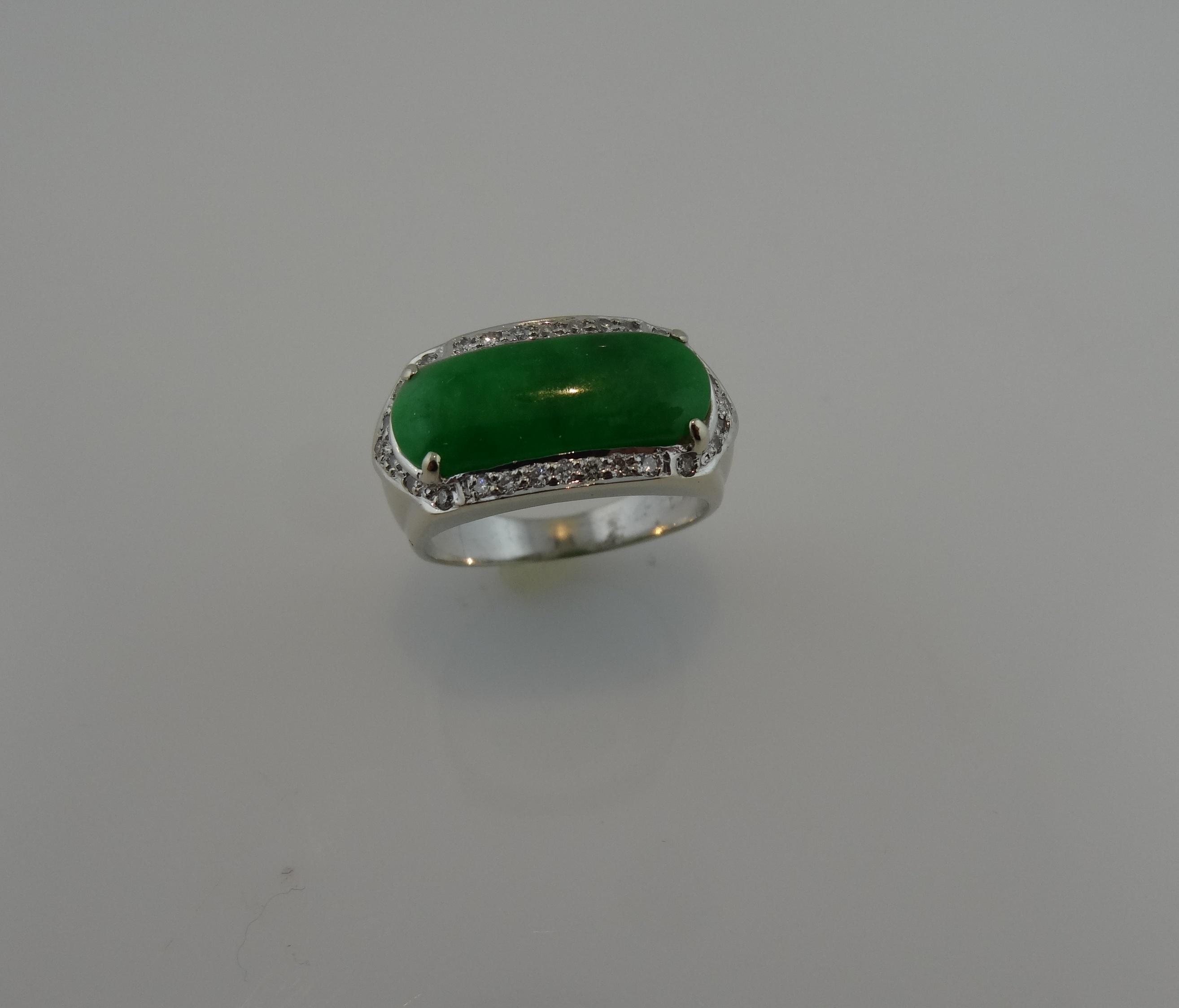 18KT White Gold Jade and Diamond Ring